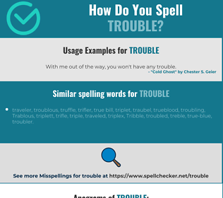 Correct spelling for trouble