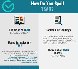 Correct spelling for tsar