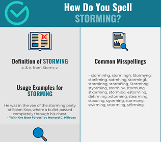 Correct spelling for Storming