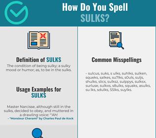 Correct spelling for Sulks