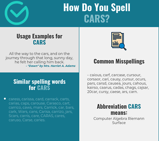 Correct spelling for cars