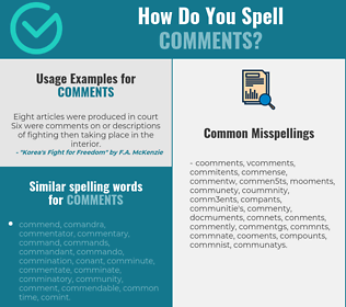 Correct spelling for comments