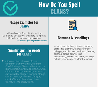 Correct spelling for clans