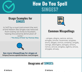Correct spelling for singes