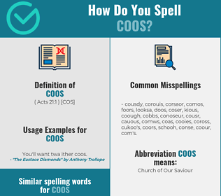 Correct spelling for coos