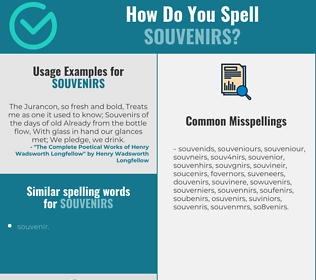 Correct spelling for souvenirs