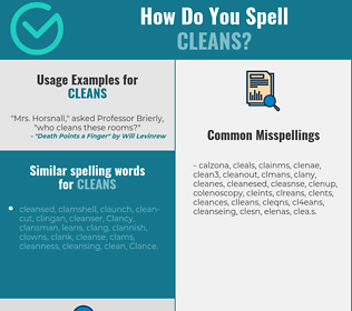 Correct spelling for cleans