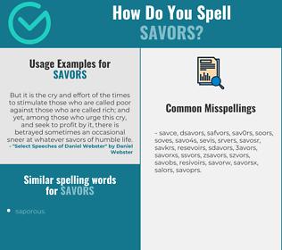 Correct spelling for savors