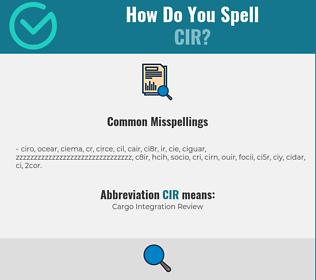 Correct spelling for CIR