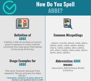 Correct spelling for abbe