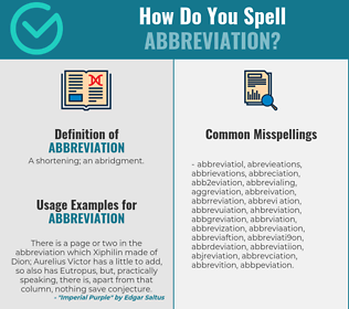 Correct spelling for abbreviation