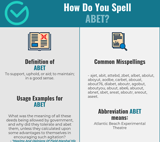 Correct spelling for abet