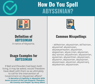 Correct spelling for abyssinian