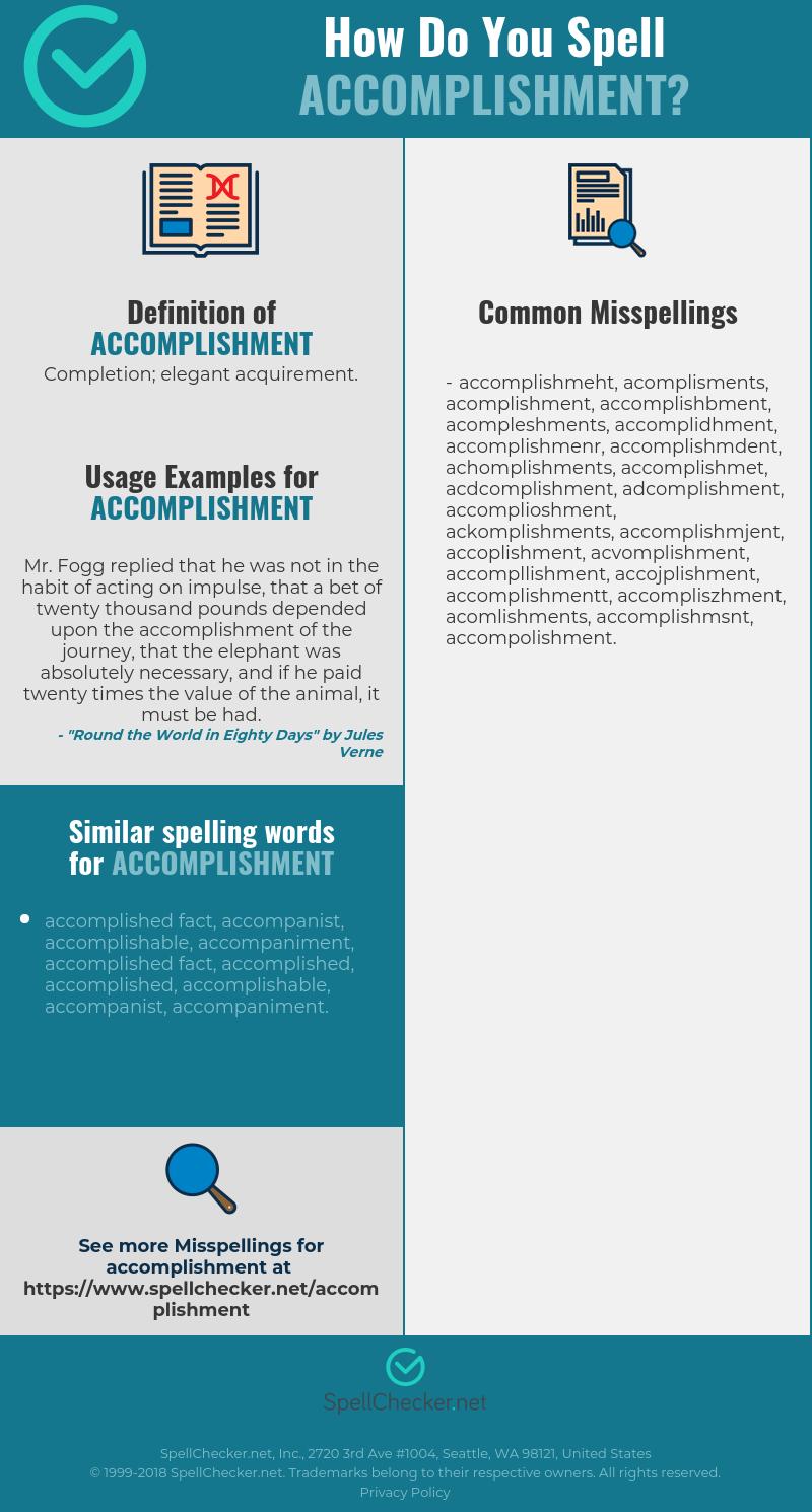 Acomplishment correct spelling for accomplishment [infographic
