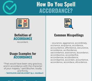 Correct spelling for accordance