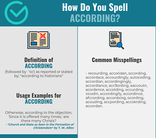Correct spelling for according