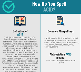 Correct spelling for acid