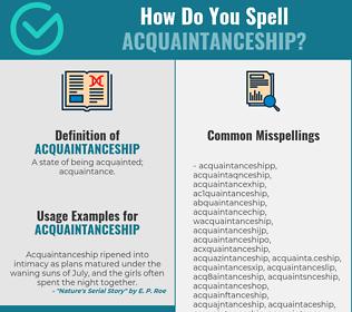 Correct spelling for acquaintanceship
