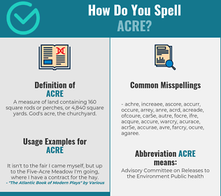 Correct spelling for acre