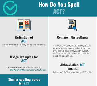 Correct spelling for act