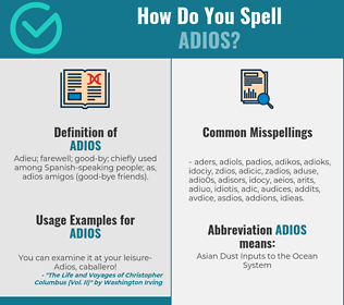 Correct spelling for adios