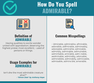 Correct spelling for admirable