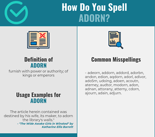 Correct spelling for adorn