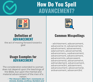 Correct spelling for advancement