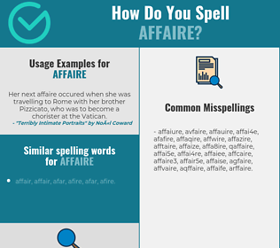 Correct spelling for affaire