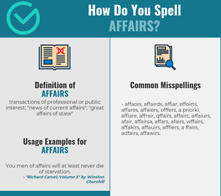Correct spelling for affairs