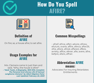 Correct spelling for afire