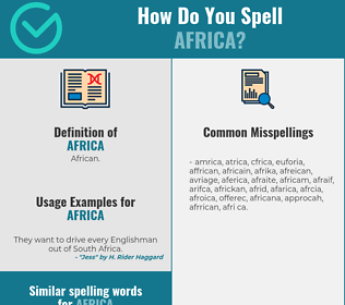 Correct spelling for africa