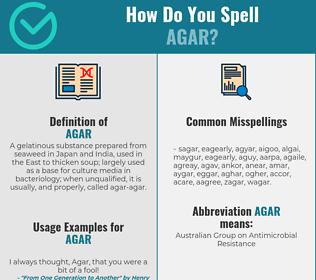 Correct spelling for agar