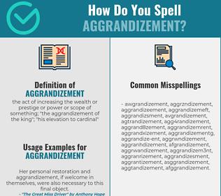 Correct spelling for aggrandizement