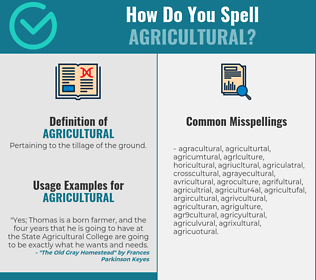 Correct spelling for agricultural