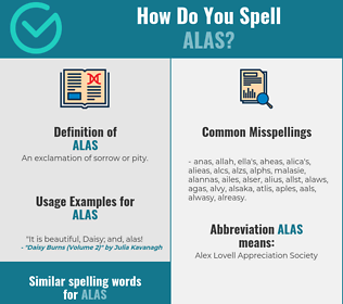 Correct spelling for alas