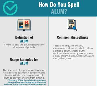 Correct spelling for alum