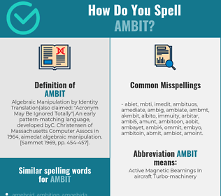 Correct spelling for ambit