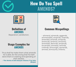 Correct spelling for amends