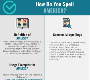 Correct spelling for america