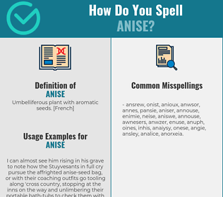 Correct spelling for anise
