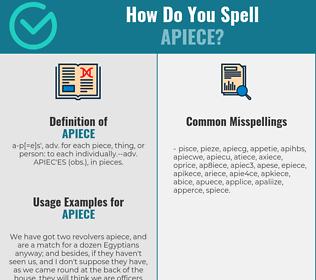 Correct spelling for apiece