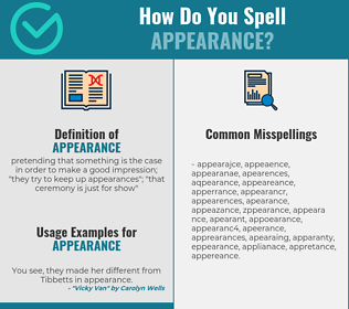 Correct spelling for appearance
