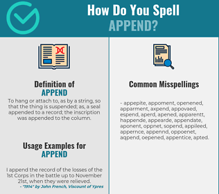 Correct spelling for append