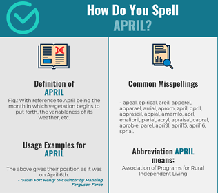 Correct spelling for april