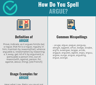 Correct spelling for argue