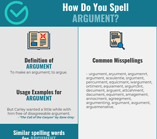 Correct spelling for argument