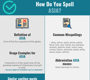 Correct spelling for asia
