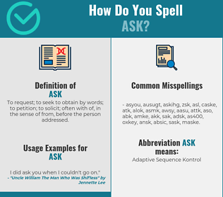 Correct spelling for ask