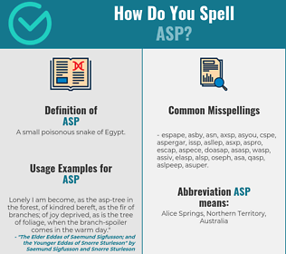 Correct spelling for asp
